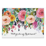 Romantic Garden Watercolor Floral Be My Bridesmaid Greeting Card