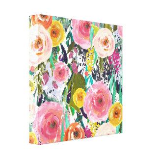 Romantic Garden Watercolor Flowers Canvas Print
