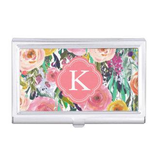 Romantic Garden Watercolor Flowers Monogram Business Card Holder