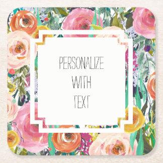 Romantic Garden Watercolor Flowers Square Paper Coaster