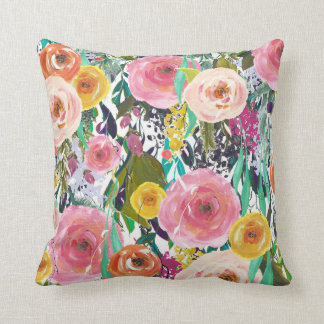 Romantic Garden Watercolor Flowers Throw Pillow