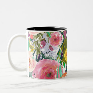 Romantic Garden Watercolor Flowers Two-Tone Coffee Mug