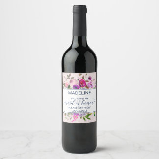Romantic Garden Will You Be My Maid of Honor Wine Label