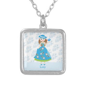 Romantic girl birthday party square pendant necklace
