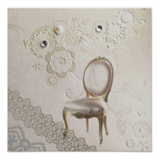 romantic girly chandelier Rococo chair paris Poster