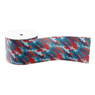 Romantic girly style camouflage pink pattern grosgrain ribbon