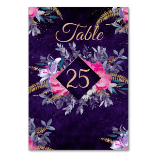 Romantic gold and purple floral wedding collection card