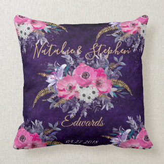 Romantic gold and purple floral wedding collection cushion
