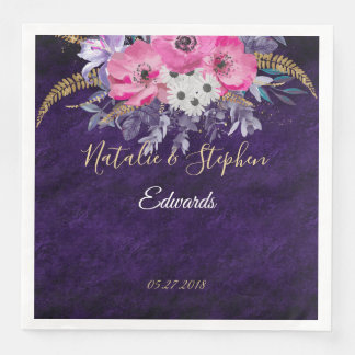 Romantic gold and purple floral wedding collection paper napkin