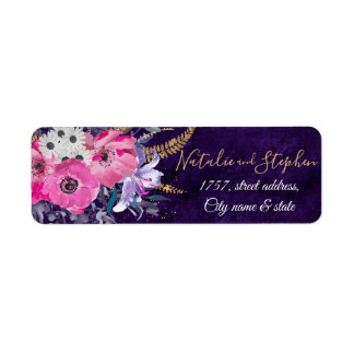 Romantic gold and purple floral wedding collection return address label