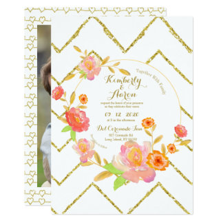 Romantic Gold Chevron | Pink Floral Wedding Invite