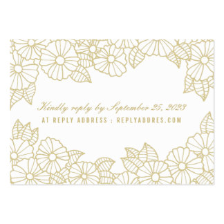 Romantic Gold Flowers on White Wedding RSVP Pack Of Chubby Business Cards