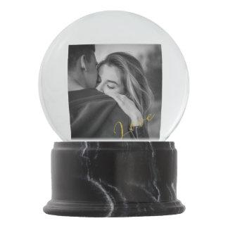 Romantic Golden Lettered Love Photo Globe Custom Snow Globe