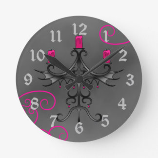 Romantic gothic candelabra in hot pink and gray round clock