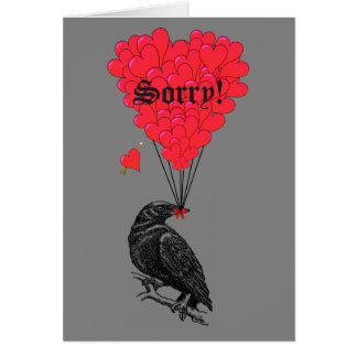 Romantic gothic crow and heart sorry card
