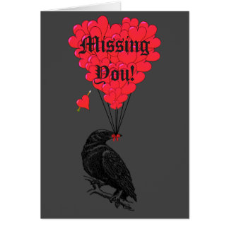 Romantic gothic crow  missing you card