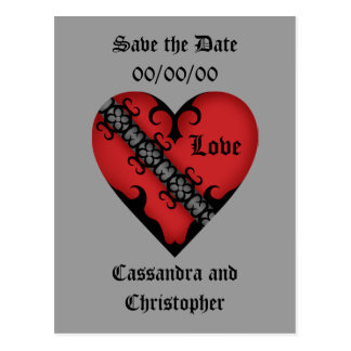 Romantic gothic mediaeval red heart save the date postcard