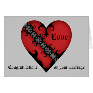 Romantic gothic medieval heart wedding congrats greeting card