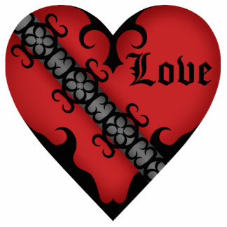 Romantic gothic medieval red heart magnet acrylic cut outs