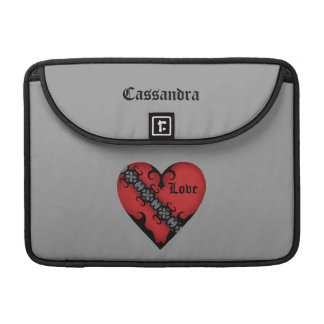 Romantic gothic medieval red heart personalized MacBook pro sleeve