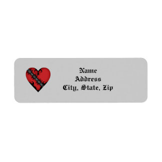 Romantic gothic medieval red heart return address label