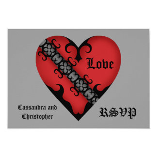 Romantic gothic medieval red heart RSVP Card