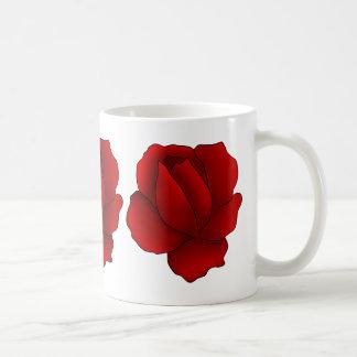 Romantic gothic red rose basic white mug