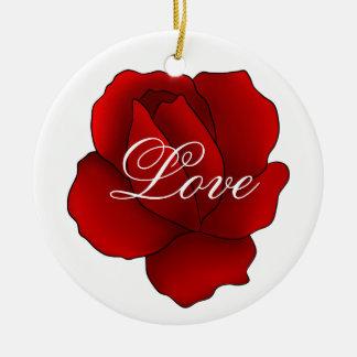 Romantic gothic red rose Love Ceramic Ornament