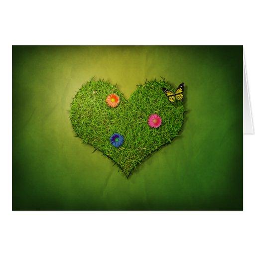 Romantic Grass Heart - Greeting Card