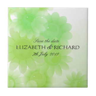 Romantic green floral Save the date Tile