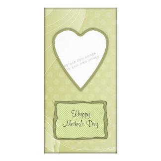 Romantic green heart design personalized photo card