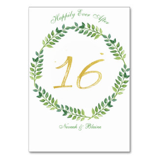 Romantic Green Leaves -  Wedding table card16 ring Card