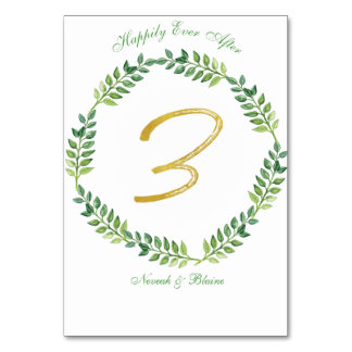 Romantic Green Leaves -  Wedding table card 3 ring