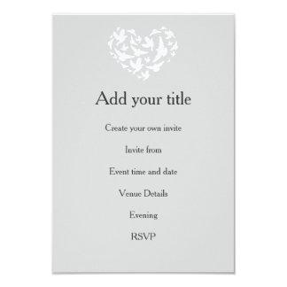 Romantic Grey with Hearts and Birds Invitation