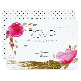 Romantic Hand Painted Pink Floral Polkadot RSVP Card