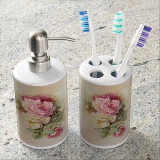 Romantic Handpainted Style Vintage Roses Soap Dispensers