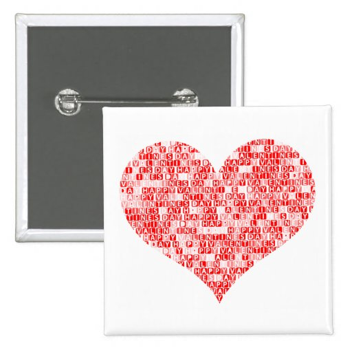 Romantic Happy Valentine´s Day Heart Pinback Buttons