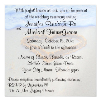 "Romantic Heart in Sand beach Wedding 5.25"" Square Invitation Card"