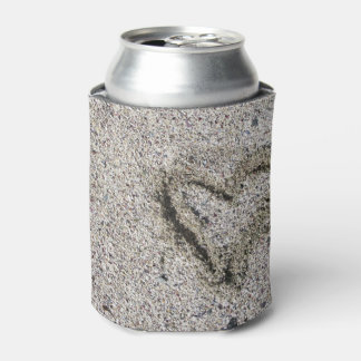 Romantic Heart in Sand Can Cooler