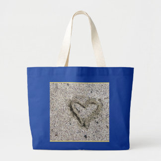 Romantic Heart in Sand Large Tote Bag