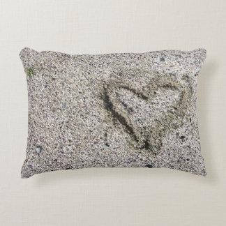 Romantic Heart in Sand Photo Decorative Cushion