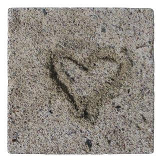 Romantic Heart in Sand Photo Trivet