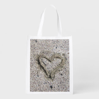 Romantic Heart in Sand Reusable Grocery Bag