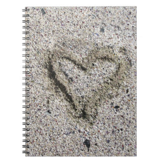 Romantic Heart in Sand Spiral Note Book