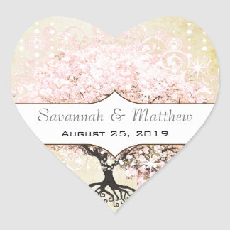Romantic Heart Leaf Pink Tree Wedding Seal Heart Sticker