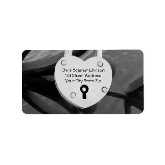 Romantic heart love lock photo address labels