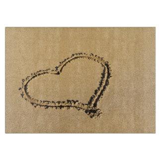 Romantic Heart on Beach Sand Photo Cutting Board