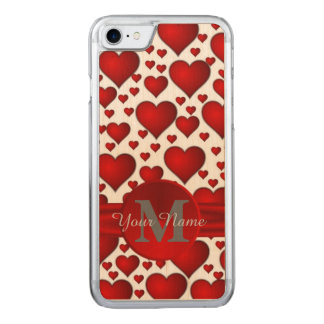 Romantic heart pattern monogrammed carved iPhone 7 case