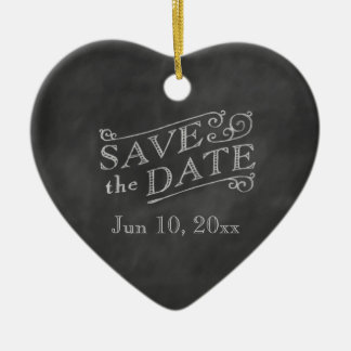 Romantic Heart Save the Date on Chalkboard Ceramic Ornament
