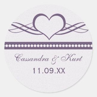 Romantic Heart Swirls Wedding Stickers